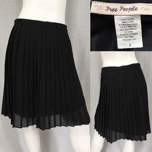 Size 9 Free People Black Pleated Knee Length Skirt